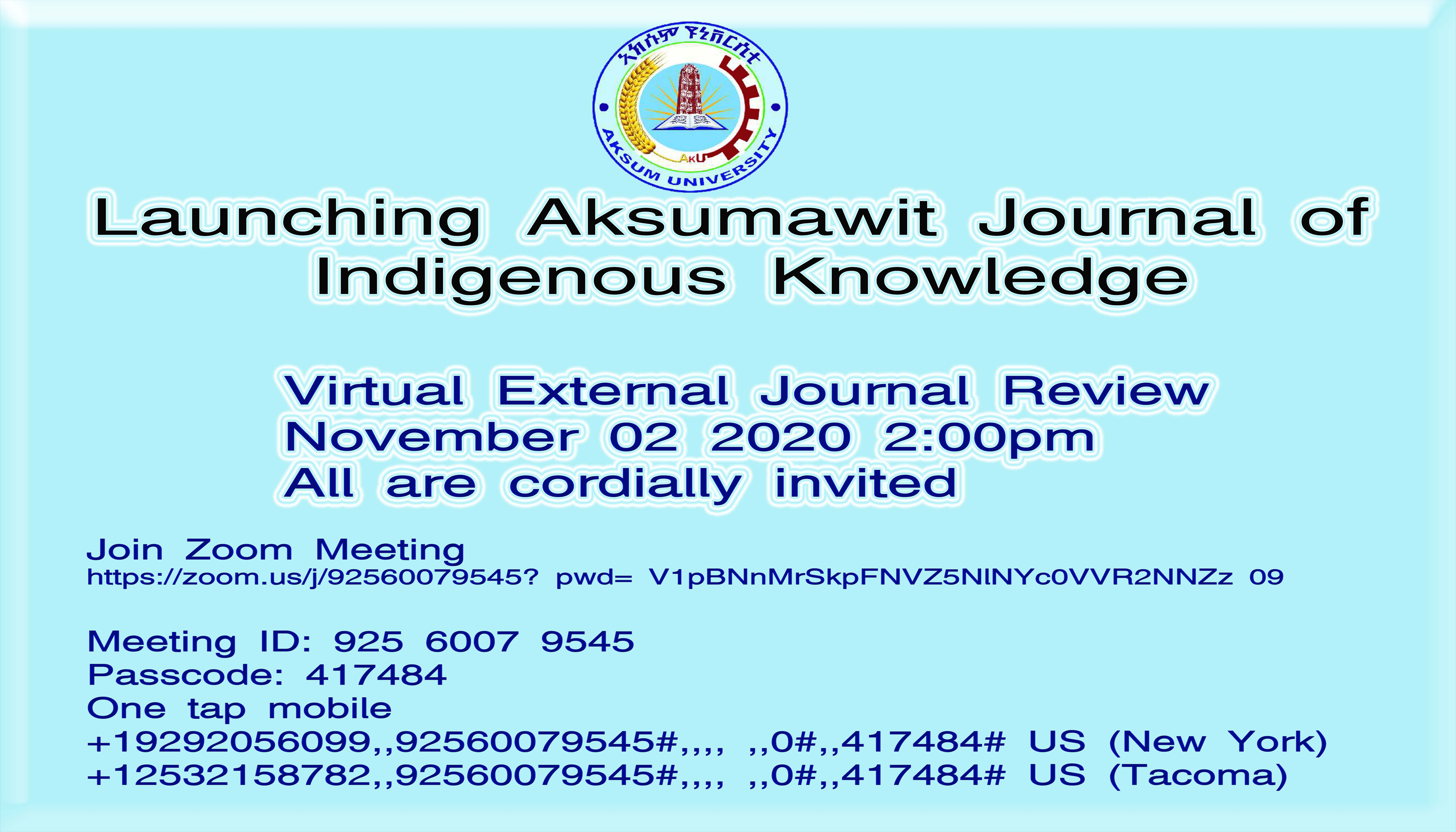 Launching Aksumawit Journal of Indigenous Knowledge